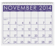 2014 Calendar: November. 12 image series of months on the year in a 3d rendered calendar Stock Photos