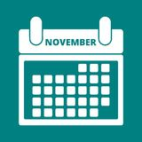 Calendar November. Simple white Calendar November, vector icon Royalty Free Stock Photography