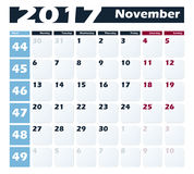 Calendar 2017 November vector design template. Week starts with Monday. European version Royalty Free Stock Images