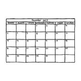 Calendar November 2017 - vector illustration sketch hand drawn w. Ith black lines, isolated on white background Stock Photo