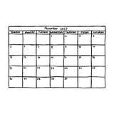 Calendar November 2017 - vector illustration sketch hand drawn w Stock Photo
