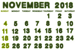 Calendar for November 2018 on white background. 3d rendering green grass Royalty Free Stock Images
