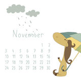 Calendar for November 2014. Year of the Horse. vector illustration
