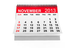 Calendar November 2013. 2013 year calendar. November calendar on a white background Stock Photography