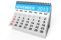 Calendar November 2013. 2013 year calendar. November calendar on a white background Royalty Free Stock Photo