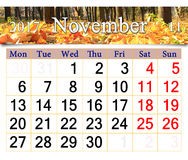 Calendar for November 2017 with yellow leaves in park Stock Photography