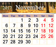 Calendar for November 2017 with yellow leaves in park Royalty Free Stock Photo