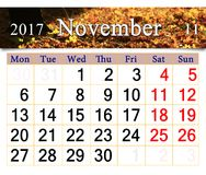 Calendar for November 2016 with yellow leaves Royalty Free Stock Photos