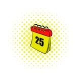 Calendar 25 number  comics icon Royalty Free Stock Photo