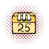 Calendar 25 number  comics icon Stock Image