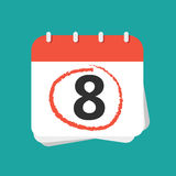 Calendar with number eight. And red mark around it. Flat  illustration Stock Photography