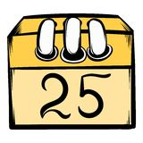 Calendar 25 number  icon cartoon Royalty Free Stock Photo