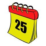 Calendar 25 number  icon cartoon Royalty Free Stock Photos