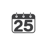 Calendar with number 25 icon vector, filled flat sign, solid pic Royalty Free Stock Images
