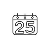 Calendar with number 25 line icon, outline vector sign, linear p Royalty Free Stock Photos