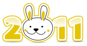 Calendar number with rabbit. On white Royalty Free Stock Images