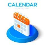 Calendar o ícone sinal isométrico do calendário 3D Criado para o móbil, Web, decoração, produtos da cópia, aplicação Aperfeiçoe p ilustração royalty free
