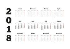Calendar 2018 o ano com a semana que parte de segunda-feira, folha A4 Foto de Stock Royalty Free