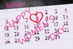 Calendar o ano da página data de um março de 2018 meses dia do ` s da mãe de 8 feriados Fotografia de Stock