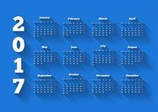 Calendar 2017 o ano no estilo liso moderno do projeto com sombra longa ilustração do vetor