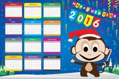 Calendar o cartão e o macaco do partido do ano novo feliz 2016 no fundo azul Fotografia de Stock Royalty Free