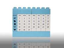 Calendar o isolamento do brinquedo do tijolo no branco com sombra Imagem de Stock