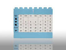 Calendar o isolamento do brinquedo do tijolo no branco com sombra Fotos de Stock