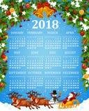 Calendar o molde com símbolos do Xmas e do ano novo ilustração stock