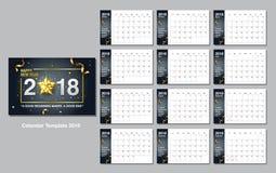 Calendar o molde do projeto, ano novo feliz, 2018, ilustração do vetor Imagens de Stock