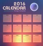 Calendar o molde do projeto do fundo do céu noturno 2016 e da lua Fotografia de Stock