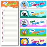 Calendar o molde do projeto do planejador 2018 com bandeira substituível Ilustração de animais alegres Tema das crianças s Imagem de Stock Royalty Free
