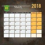 Calendar o molde para o mês 2018 de março com fundo abstrato do grunge Imagem de Stock