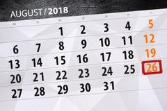 Calendar o planejador para o mês, dia da semana, 2018 august, 26 do fim do prazo, domingo Fotos de Stock Royalty Free