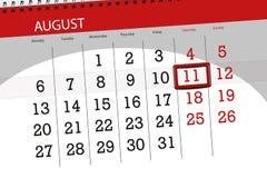 Calendar o planejador para o mês, dia da semana, 2018 august, 11 do fim do prazo, sábado Imagem de Stock Royalty Free