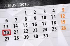Calendar o planejador para o mês, dia da semana, 2018 august, 20 do fim do prazo, segunda-feira Foto de Stock Royalty Free