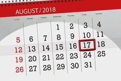 Calendar o planejador para o mês, dia da semana, 2018 august, 17 do fim do prazo, sexta-feira Foto de Stock