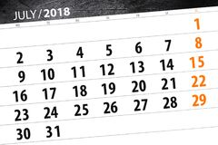 Calendar o planejador para o mês, dia da semana, do fim do prazo 2018 julho Imagem de Stock
