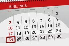Calendar o planejador para o mês, dia da semana, domingo do fim do prazo, o 24 de junho 2018 Fotografia de Stock