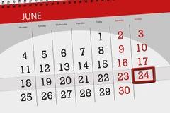 Calendar o planejador para o mês, dia da semana, domingo do fim do prazo, o 24 de junho 2018 Imagem de Stock