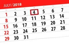 Calendar o planejador para o mês, dia da semana, quarta-feira do fim do prazo, 2018 o 4 de julho, Dia da Independência Imagem de Stock