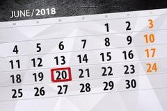 Calendar o planejador para o mês, dia da semana, quarta-feira do fim do prazo, o 20 de junho 2018 Fotos de Stock