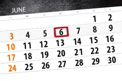 Calendar o planejador para o mês, dia da semana, quarta-feira do fim do prazo, o 6 de junho 2018 Imagem de Stock Royalty Free