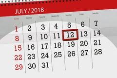Calendar o planejador para o mês, dia da semana, quinta-feira do fim do prazo, o 12 de julho 2018 Fotografia de Stock