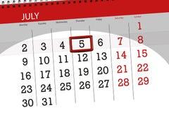 Calendar o planejador para o mês, dia da semana, quinta-feira do fim do prazo, o 5 de julho 2018 Imagem de Stock Royalty Free