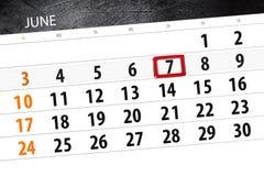 Calendar o planejador para o mês, dia da semana, quinta-feira do fim do prazo, o 7 de junho 2018 Imagem de Stock Royalty Free