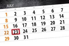 Calendar o planejador para o mês, dia da semana, segunda-feira do fim do prazo, o 23 de julho 2018 ilustração do vetor