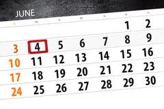 Calendar o planejador para o mês, dia da semana, segunda-feira do fim do prazo, o 4 de junho 2018 Imagens de Stock Royalty Free