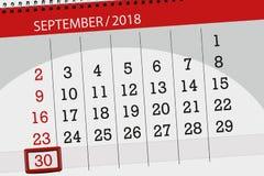 Calendar o planejador para o mês, dia da semana, 2018 setembro do fim do prazo, 30, domingo ilustração stock