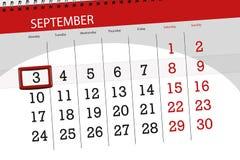 Calendar o planejador para o mês, dia da semana, 2018 setembro do fim do prazo, 3, segunda-feira ilustração stock