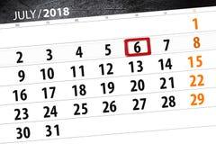 Calendar o planejador para o mês, dia da semana, sexta-feira do fim do prazo, o 6 de julho 2018 Imagem de Stock Royalty Free